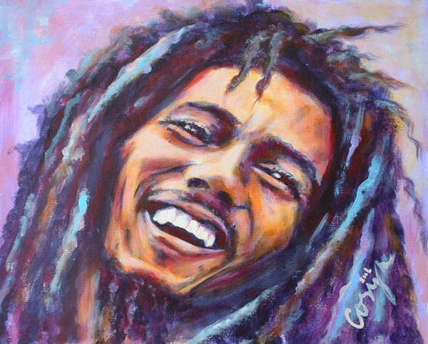Bob Marley – Acrylic on canvas board – 30×40 cm – Stolen