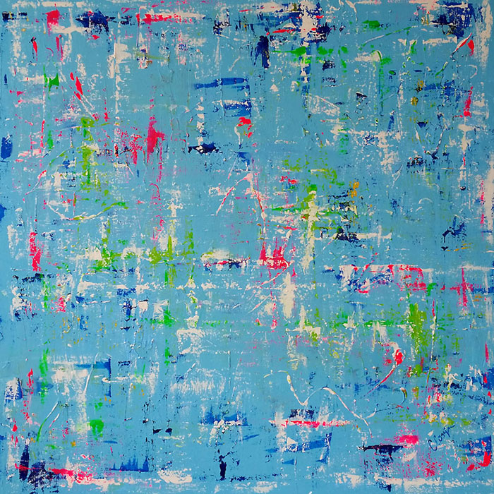 Arubian Blue - Mixed Medium - Acrylic & Oil - 100x100cm